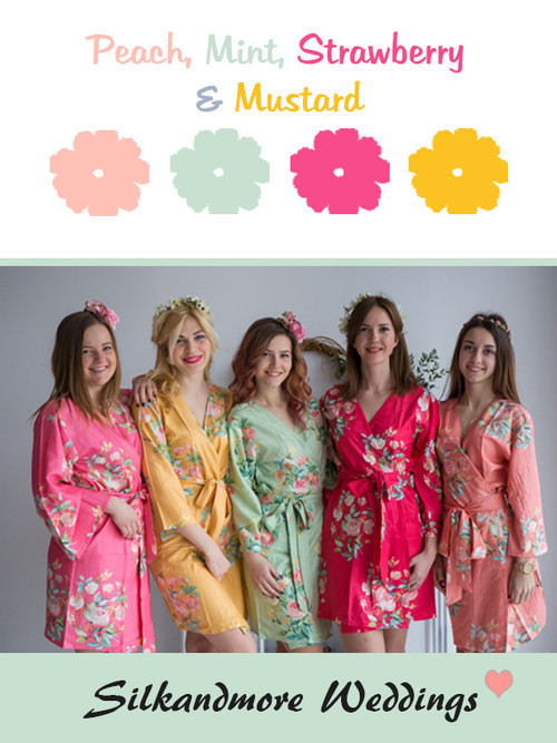 Peach, Mint, Strawberry and Mustard Wedding Color Robes- Premium Rayon Collection
