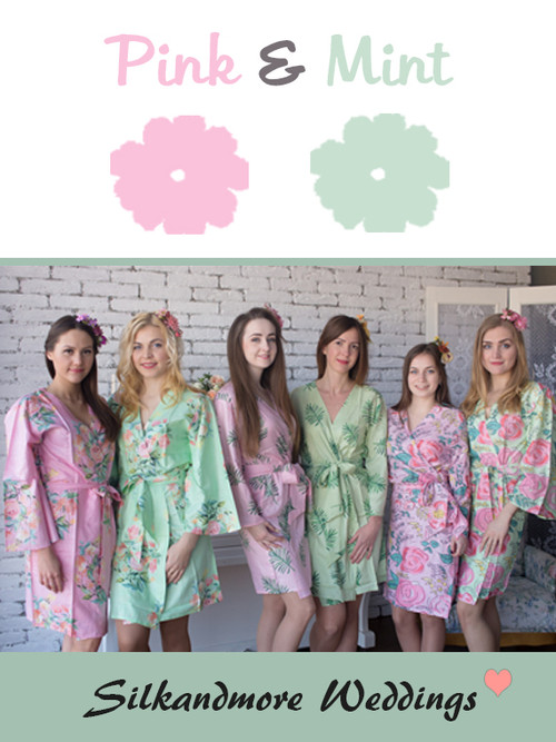 Pink and Mint Wedding Color Robes- Premium Rayon Collection