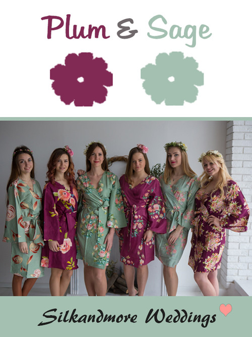 Plum and Sage Wedding Color Robes- Premium Rayon Collection
