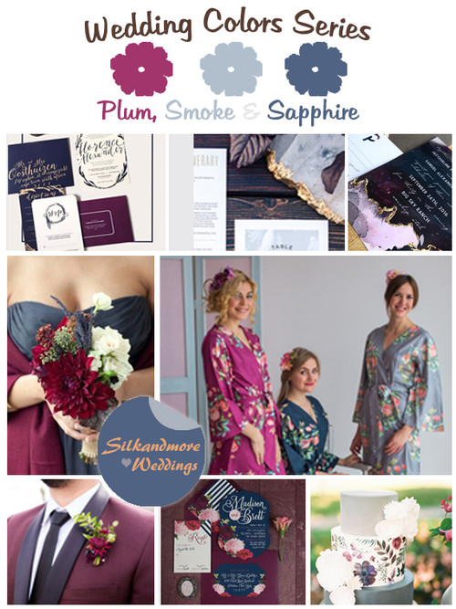 Plum, Smoke and Sapphire Wedding Color Palette