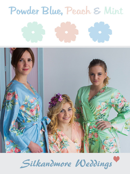 Powder Blue, Peach and Mint Wedding Color Robes- Premium Rayon Collection