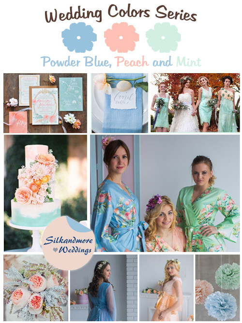 Powder Blue, Peach and Mint Wedding Color Palette
