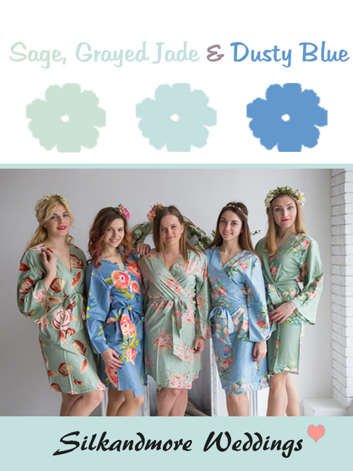 Sage, Grayed Jade and Dusty Blue Wedding Color Robes- Premium Rayon Collection