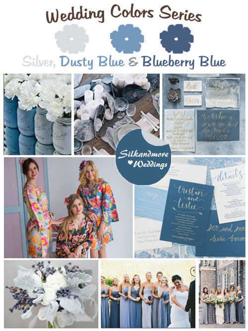 Silver, Dusty Blue and Blueberry Blue Wedding Color Palette