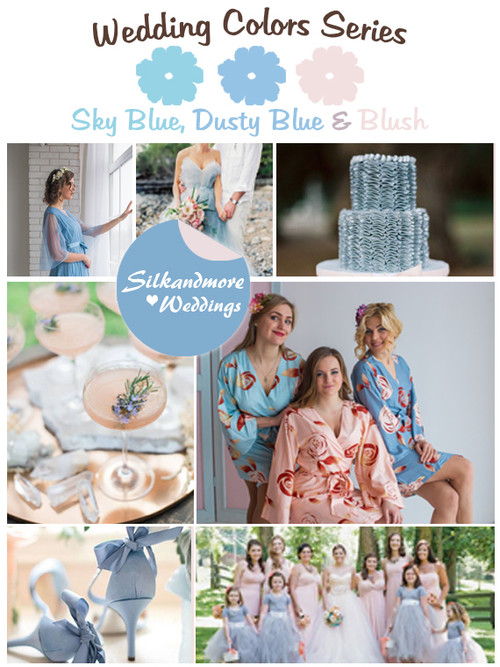 Sky Blue, Dusty Blue and Blush Wedding Color Palette