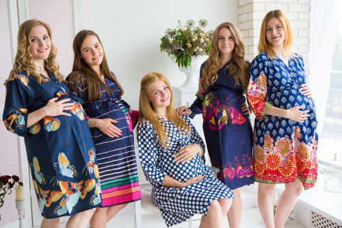 Mommies in Navy Blue Abstract Patterned Robes