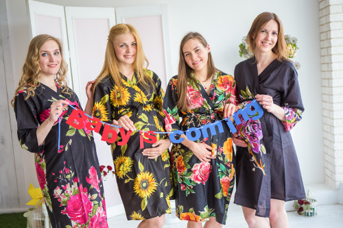 Mommies in Black Large Floral Robes