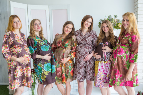 Mommies in Brown Floral Robes