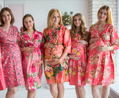 Mommies in Coral Floral Robes