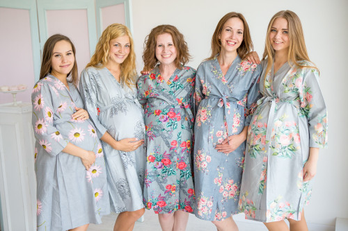 Mommies in Light Gray Floral Robes