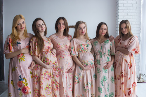 Mommies in Blush Floral caftans