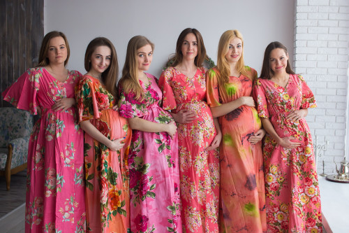 Mommies in Coral Maternity Caftans