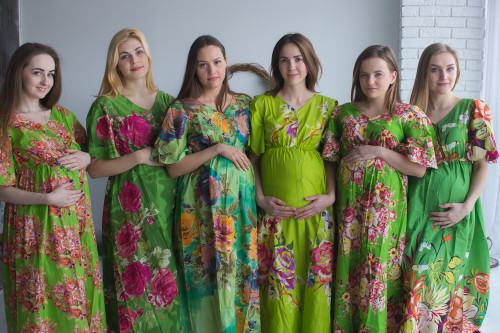 Mommies in Green Maternity Caftans