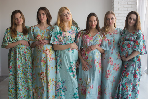 Mommies in Light Blue Maternity Caftans