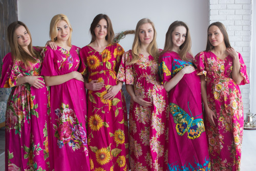 Mommies in Magenta Maternity Caftans