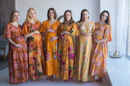 Mommies in Mustard Maternity Caftans