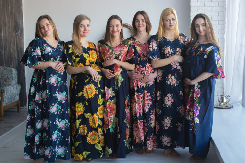 Mommies in Navy Blue Maternity Caftans