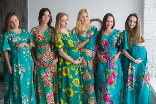 Mommies in Teal Maternity Caftans