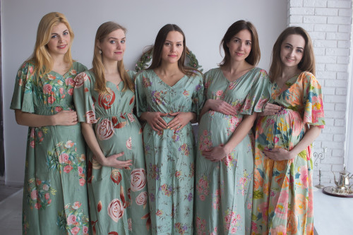 Mommies in Sage Maternity Caftans