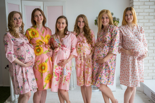 Mommies in Light Pink Floral Robes