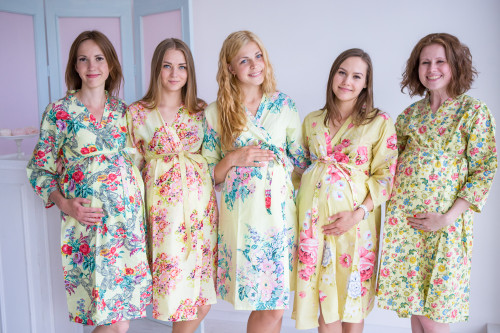 Mommies in Light Yellow Floral Robes