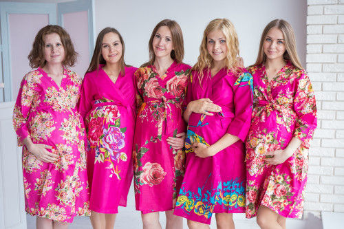 Mommies in Magenta Floral Robes