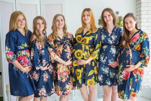 Mommies in Navy Blue Floral Robes
