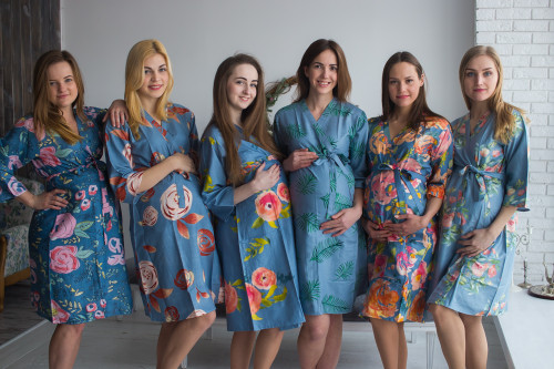 Mommies in Dusty Blue Floral Robes