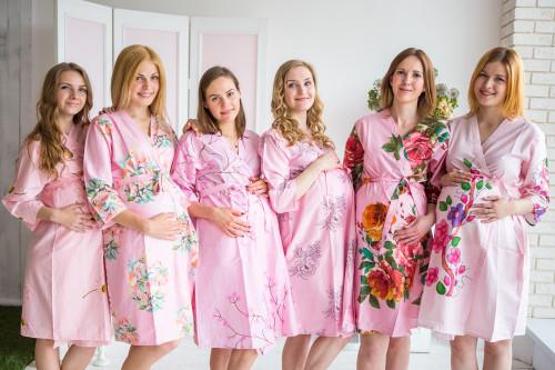 Mommies in Pastel Pink Floral Robes