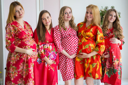 Mommies in Red Floral Robes