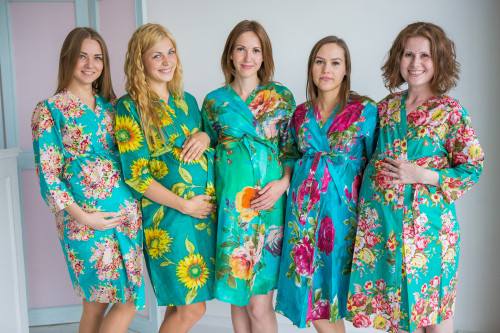 Mommies in Teal Floral Robes
