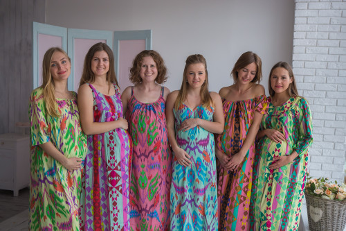 Mommies in Aztec Night Gowns