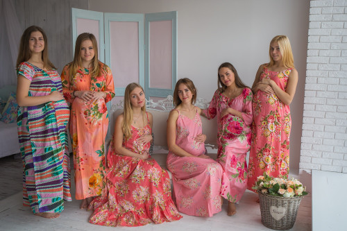 Mommies in Coral Floral Night Gowns