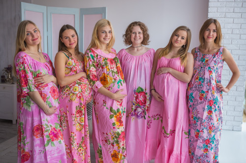 Mommies in Dark Pink Floral Night Gowns
