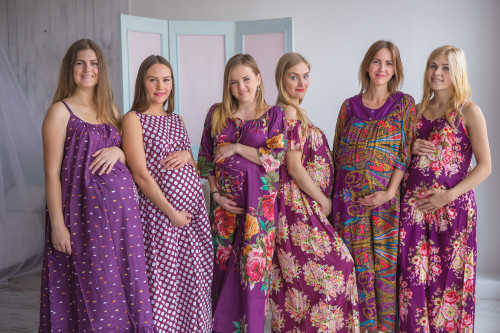 Mommies in Eggplant Floral Night Gowns