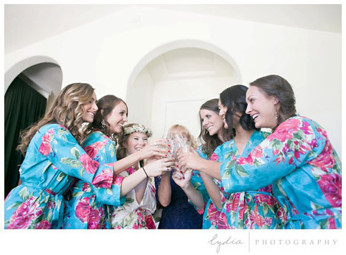 Blue Large Fuchsia Floral Blossoms Robes for bridesmaids | Getting Ready Bridal Robes
