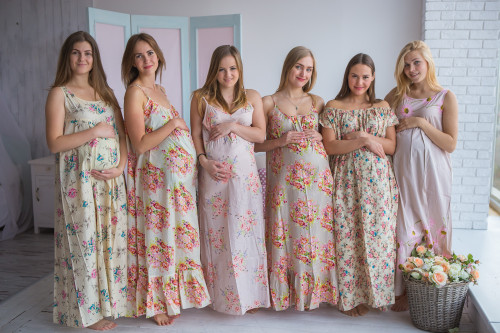 Mommies in Ivory Floral Night Gowns