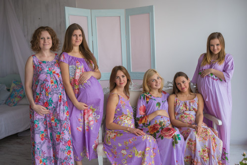 Mommies in Lavender Floral Night Gowns