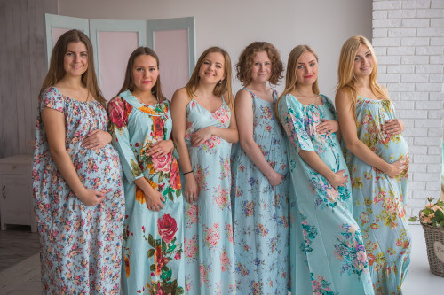 Mommies in Light Blue Floral Night Gowns
