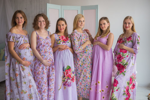 Mommies in Lilac Floral Night Gowns