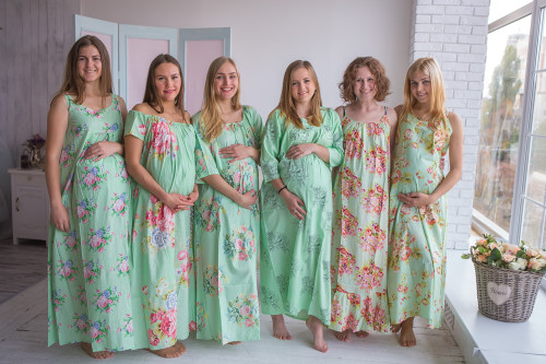 Mommies in Mint Floral Night Gowns