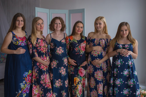 Mommies in Navy Blue Floral Night Gowns