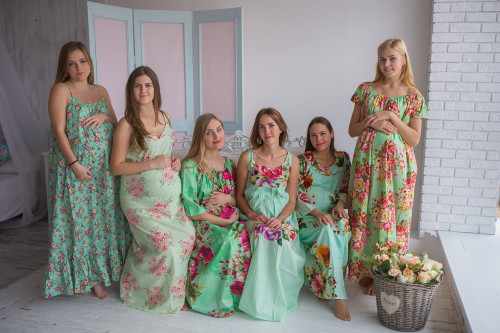 Mommies in Pastel Mint Floral Night Gowns