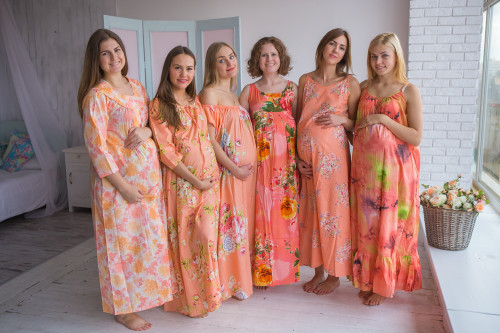 Mommies in Peach Night Gowns