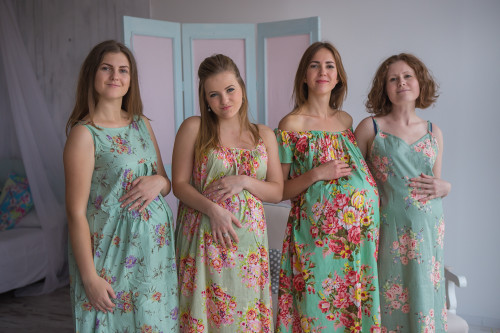 Mommies in Sage Floral Night Gowns
