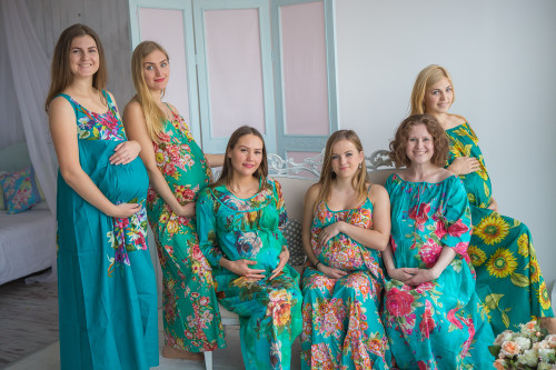 Mommies in Teal Floral Night Gowns