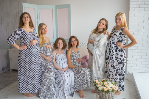 Mommies in White Black Night Gowns