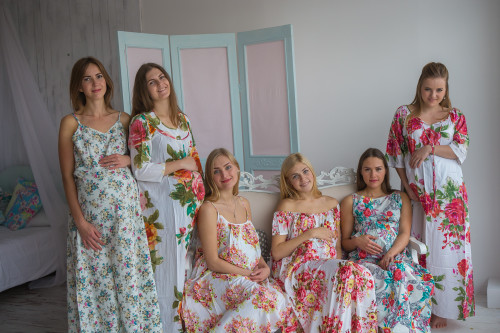 Mommies in White Red Floral Night Gowns