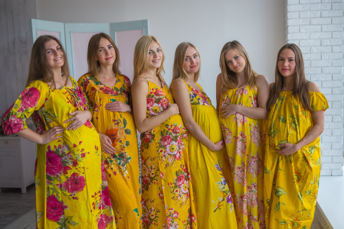 Mommies in Yellow Floral Night Gowns