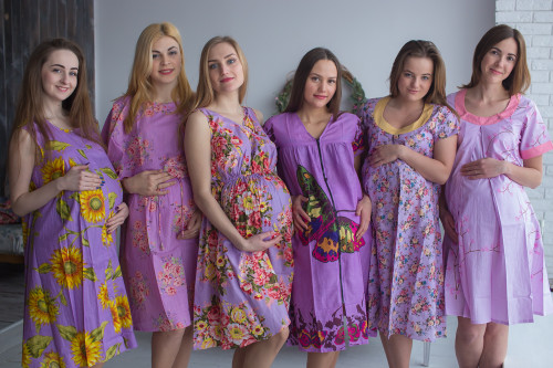 Light Purple Floral Birthing Gowns